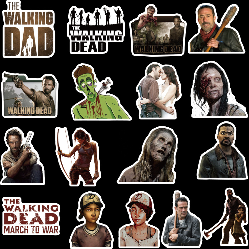 50Pcs Walking Dead Stickers  Pack for On The Laptop Fridge Phone Skateboard Travel Suitcase Luggage Horror Sticker