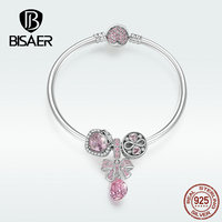 BISAER Bowknot Pendant Bracelet Authentic 925 Sterling Silver Original Love Jewelry Luxury Exquisite Bracelet For Women HSB827