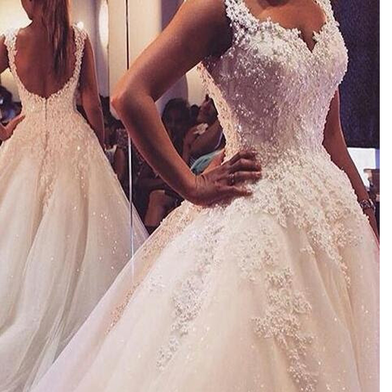 Robe De Marriage Vintage Lace Pearls Ball Vestido De Noiva 2018 Beaded Backless Luxury Bridal Gown Mother Of The Bride Dresses