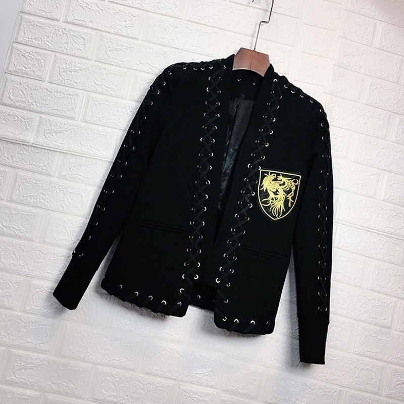 Chic Stringing Mens Spring New Embroidery Badge Blazer Fashion Long Sleeve Single Button Casual Male Outerwear Coats Plus Size