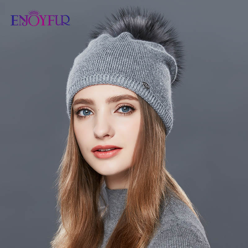 ENJOYFUR Real Raccoon Fur Pompom Hats For Women Thick Gravity Falls Cap Wool Knitted Caps girl Autumn Winter   Beanies   Female Hat