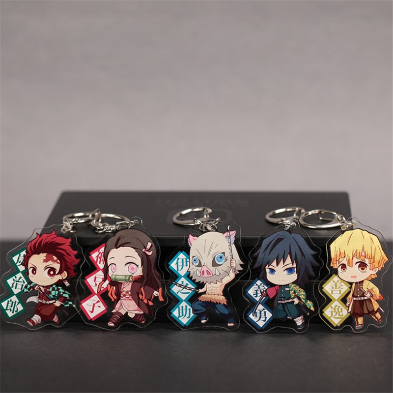 Acrylic Anime Demon Slayer Keychain Cute Brinco Blade Of Ghost Key Chain Kamado Tanjirou Cosplay Pompom Yaiba Keyring Pendant
