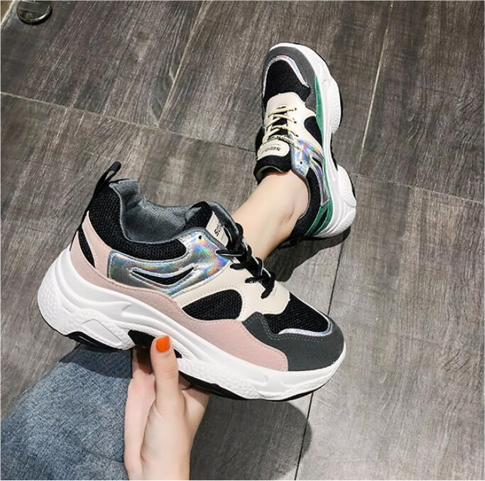 YeddaMavis Shoes Pink Daddy Shoes Women Sneakers Women Shoes New Korean Wild Thick Bottom PU Lace Up Womens Shoes Woman Trainers in Women 39 s Vulcanize Shoes from Shoes