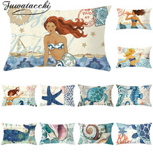 Fuwatacchi Mermaid polyester Cushion Cover Geometric Rectangle Pillowcase for Sofa Decorative Starfish Pillows Covers 30*50cm