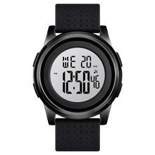 SKMEI cyfrowy zegarek mężczyźni świetlista moda 50M wodoodporne zegarki sportowe odporny na wstrząsy pasek PU Stop Watch 2 zegar 1502 tanie tanio NONE CN (pochodzenie) 25cm 5Bar Sprzączka ROUND 22mm Z żywicy Odblaskowe Automatyczna data Wiele stref czasowych Odporne na wodę