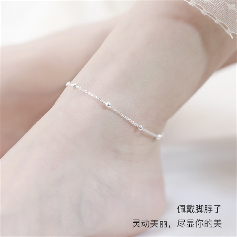 925 Sterling Silver Anklets For Women Transfer Beads Adjustable Foot Anklet Bracelet Leg Chain Foot Jewelry Woman Shoes Luxury