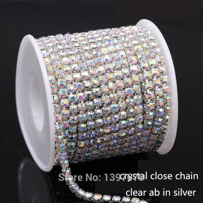 10Yards/lot ss6-ss18 AB Crystal rhinestone chain Cup chain glue on sew on rhinestones trims for DIY garment ornament accessories