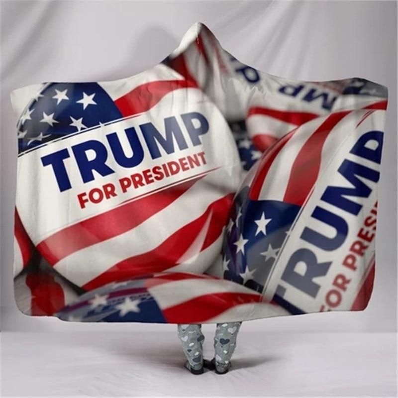 3D Trump 2020 Warm Hooded Wearable Blanket Soft Fluffy Throw Poncho Kids Adult Manta Para Sofa Fleece Deken