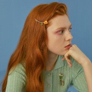 Женская заколка для волос HZ, винтажная романтическая заколка с глазурью и цветами дьявола, металлическая заколка для волос, эмалированные аксессуары для волос, 2019