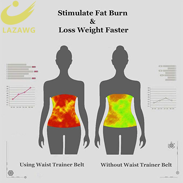 LAZAWG Women Waist Trainer Hot Neoprene Gym Workout Belt Sauna Sweat Girdle Body Shaper Tummy Control Fat Burn Corset Cincher 3