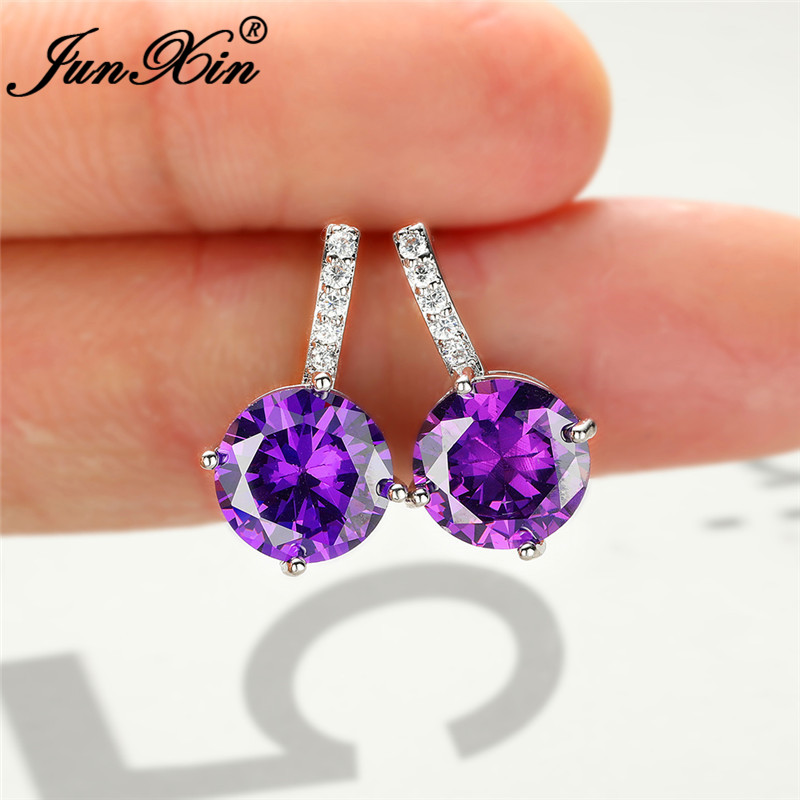 Charm Rainbow Crystal Round Earring Silver Color Purple Blue Yellow Red Zircon Stone Stud Earrings For Women Ear Studs Gifts