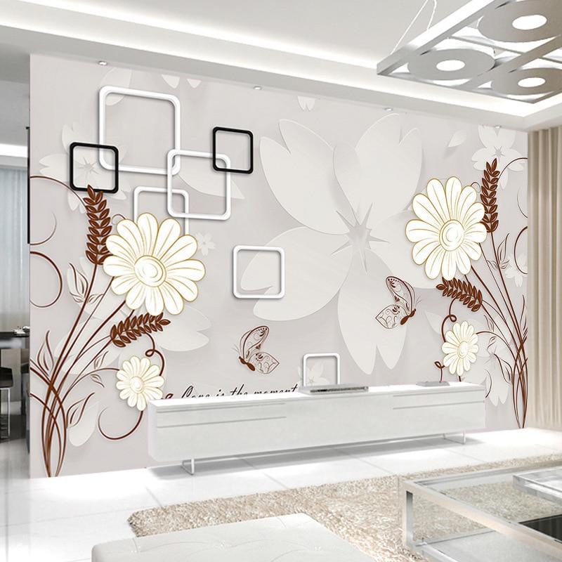 TV Backdrop Wallpaper Minimalist Modern Bedroom Wall Living Room Sofa 3D Wallpaper Flower Butterfly Flower