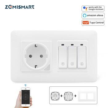 Zemismart Smart WIFI Curtain Switch With EU Socket Compatible with TUYA APP Alexa Google Home Voive Control