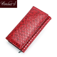 Contact's Fashion Wallet Women Genuine Leather Coin Purse Female Long Walet Card Holder Money Bag with Phone Pocket Lady Clutch kavis genuine leather women wallet purse coin female portomonee walet lady long handy money card holder clutch gift for girls