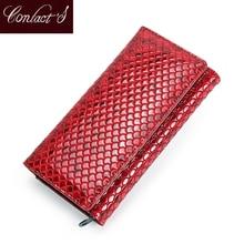 Contacts Fashion monedero de piel auténtica para mujer, billetera larga con tarjetero, bolso de mano con bolsillo para teléfono