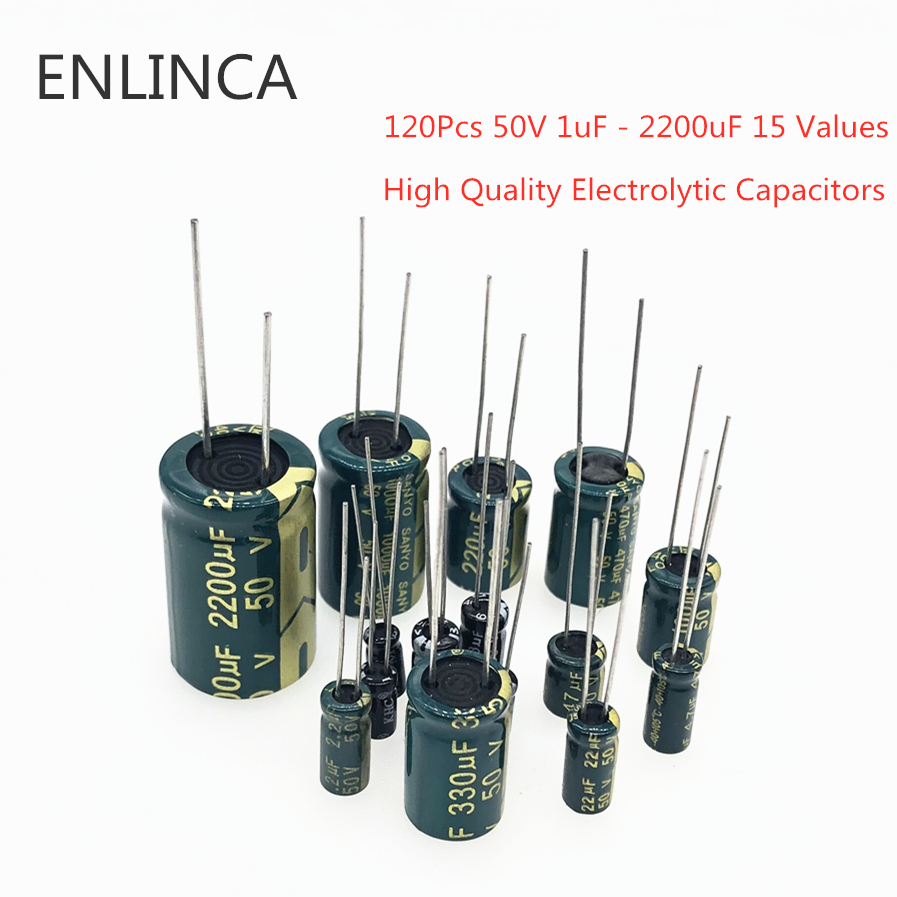 120Pcs 50V 1uF - 2200uF 15 Values High Quality Electrolytic Capacitors Assortment Set High Frequency