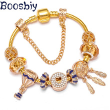 Boosbiy New Fashion Inlaid Zircon Hot Air Balloon Pendant Gold Color Charm Bracelets Fits Brand For Women Jewelry