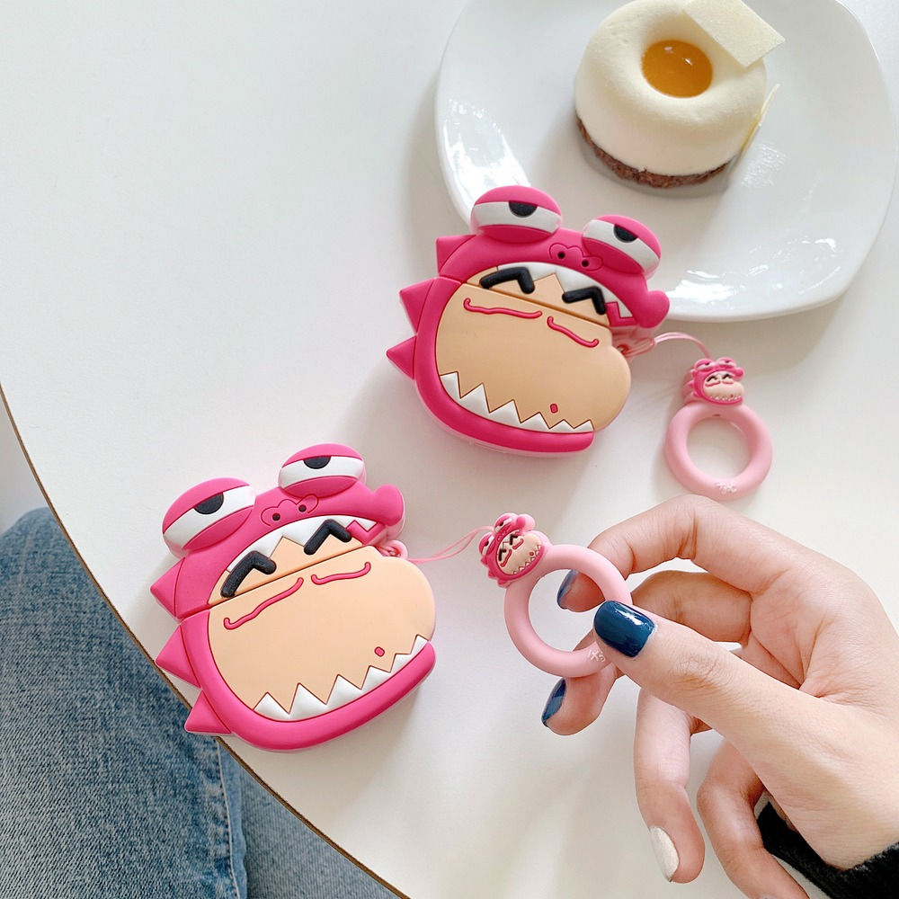 3D Cartoon Cute Crayon Shin Chan Earphone <font><b>Case</b></font> for AirPods 1 2 <font><b>Bluetooth</b></font> <font><b>Headset</b></font> Charging Box Protective Cover With Ring Strap image
