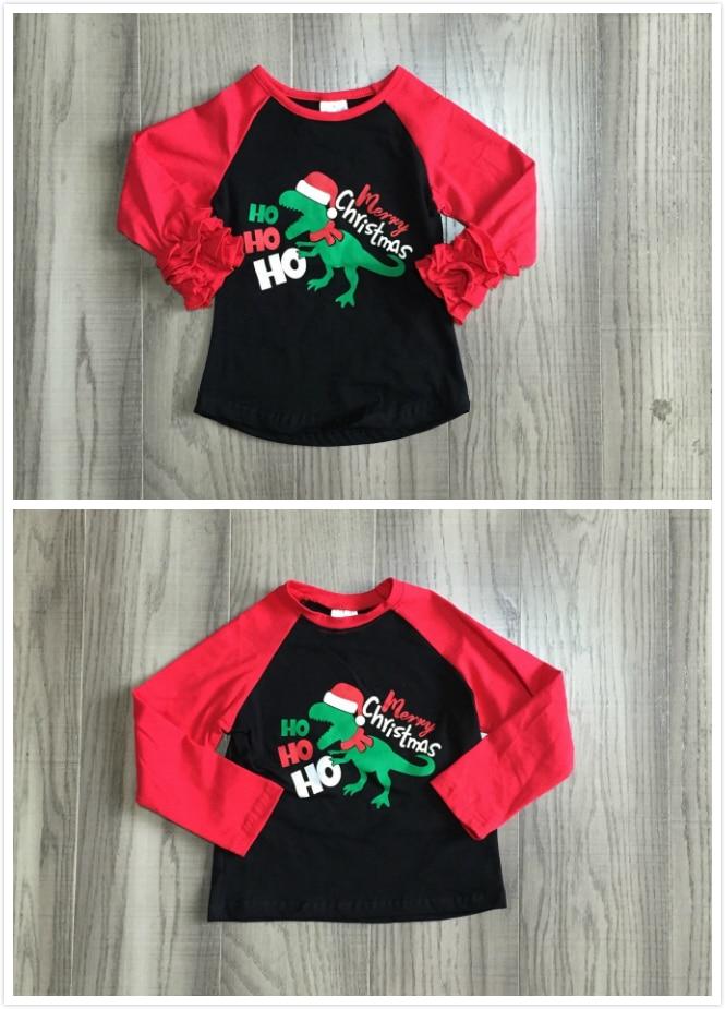 Girlymax Fall/Winter Christmas Dinosaur Cotton Milk Silk Top Long Sleeve T-shirt Baby Boys Girls Raglan Boutique Kidswear hohoho 1
