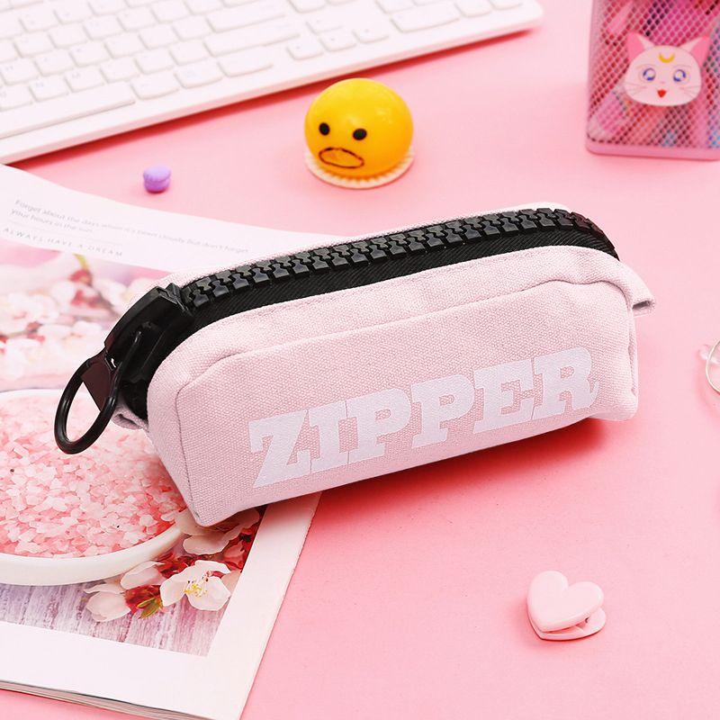 Creative Big Zipper Pencil Case Canvas High-capacity Pen Bag School Stationery Supplies L41E