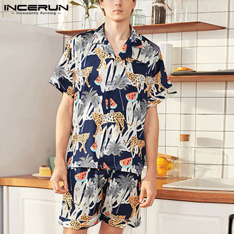 INCERUN Fashion Homewear Men Funny Printed Short Sleeve Pajamas Sets Satin Silk Summer Comfort Soft Baggy Mens Sleepwear Suit