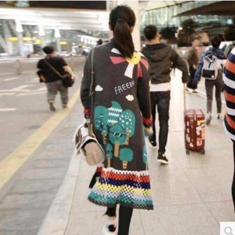 Женская зимняя одежда кардиган Tong Liya Свободное пальто длинные Befree Vadim Harajuku джемпер Sueter Mujer дамские свитера вязаный свитер