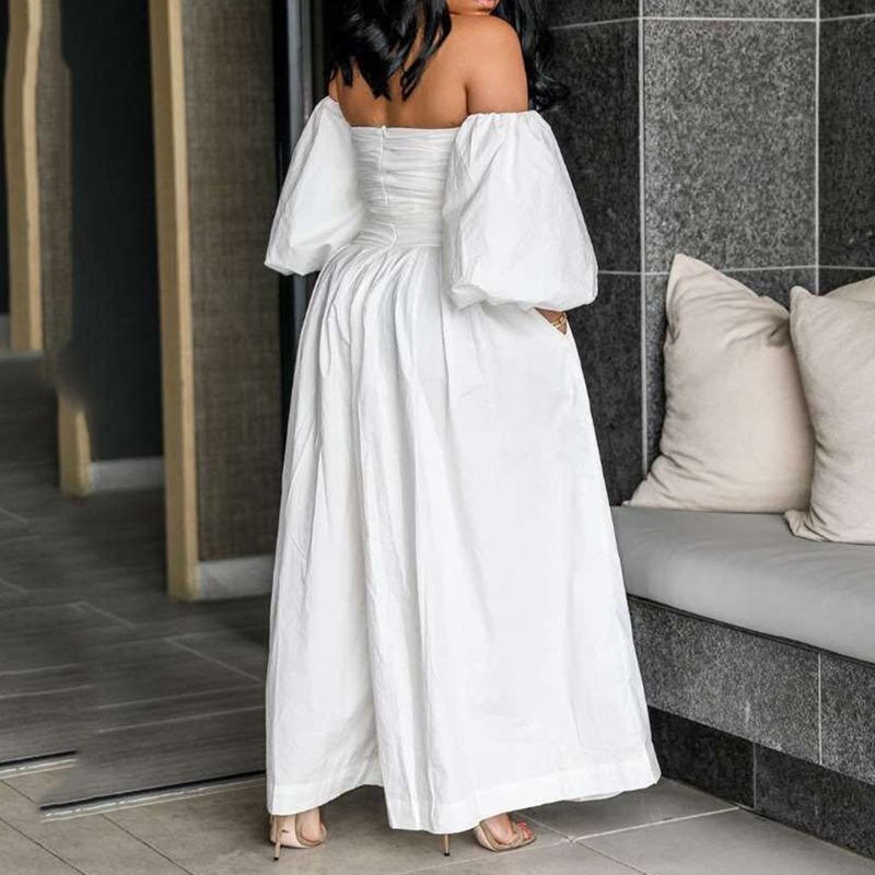 Jumpsuit Women Off Shoulder Bodycon Long Sleeve Clubwear Playsuit Rompers Sexy Wide Legs Jumpsuits Female Party WhiteTrousers in Jumpsuits from Women 39 s Clothing