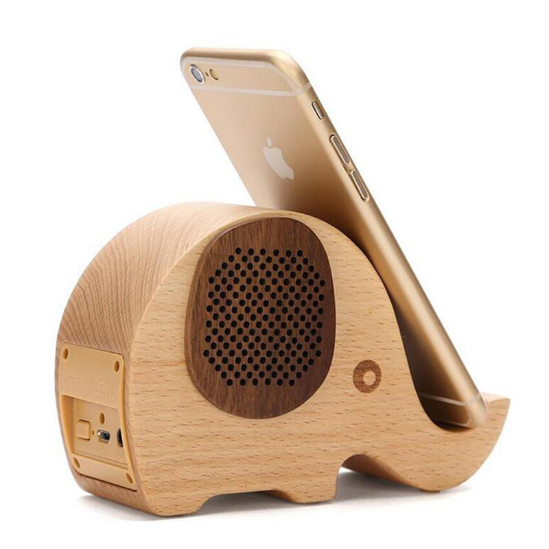 Mini Animal éléphant bois Bluetooth haut-parleur Portable dessin animé extérieur voyage lecteur de musique Support TF carte stéréo sans fil haut-parleur