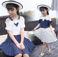 Girls Clothes Sets Summer Fashion Children Clothing Outfits Kids T-Shirt + Dot Skirt 2pcs/ Suits for Baby Girls 6 8 10 12 Years toddler girls clothes size 10 boutique coat t shirt jeans pants age 6 8 10 12 years old autumn children clothing girls sets