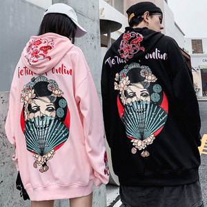 Image 5 - Men Hip Hop Hoodie Sweatshirt Japanese Geisha Harajuku Streetwear Embroidered Flower Hoodies Pullover Cotton Autumn Japan Style