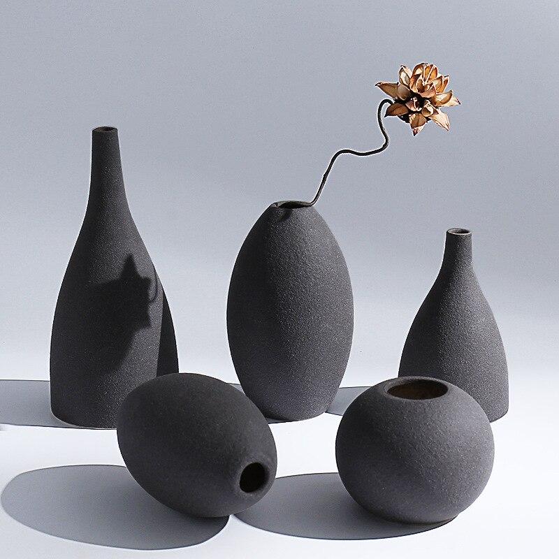 Volcano Black/Blue Ceramic Flower Vases -