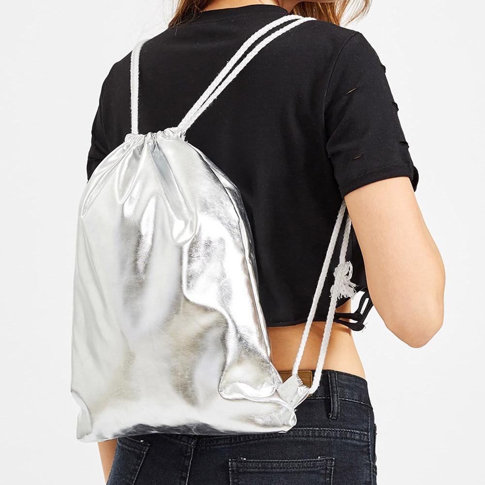 Storage Shopping Package Bags Women Fashion Solid Handbag Drawstring School Gym Backpack Tote Ladies Purse Softback Printing