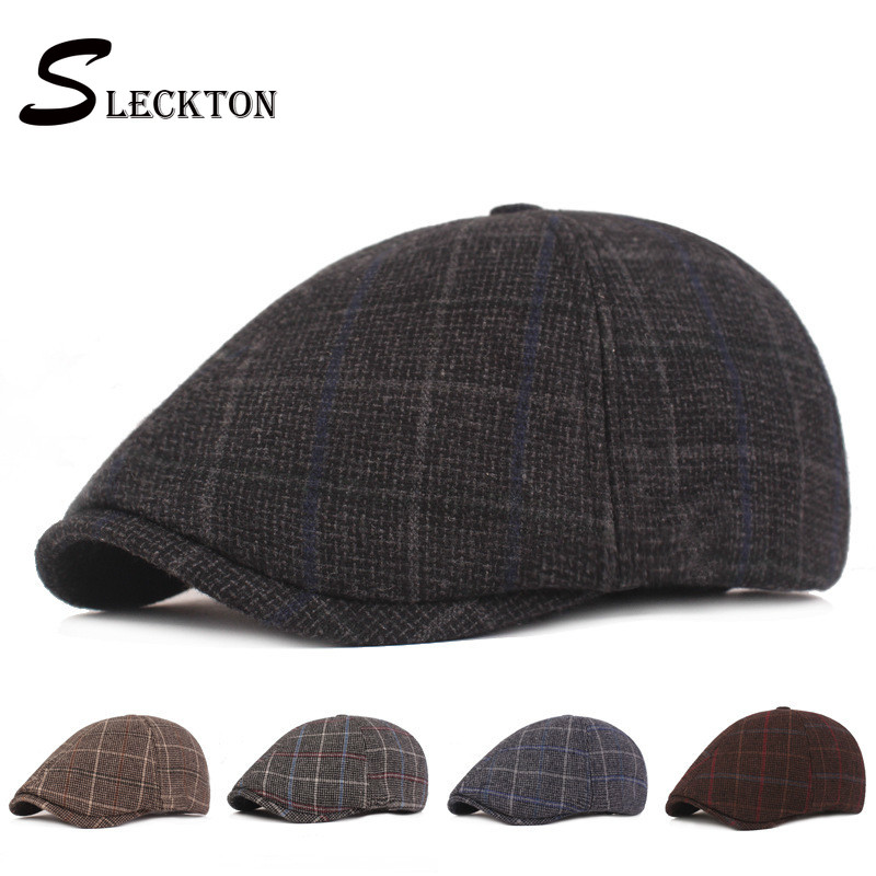 Fashion Men Flat Knitted Hat Fashion Spring Autumn Berets Solid Newsboy Style Peaked Cap Winter Vintage Cap