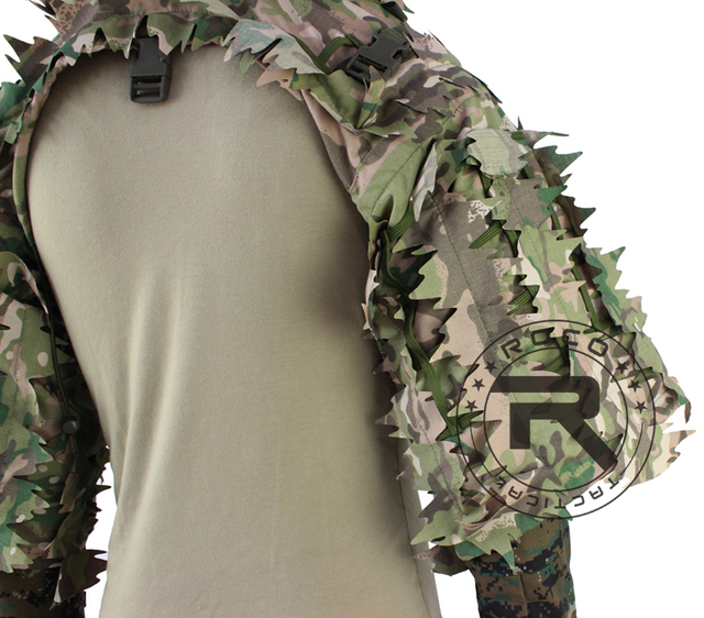 ROCOTACTICAL Tactical Ghillie Suit Breathable Ghillie Viper Hood with 3D Leafy Stripes Sniper Coat for Wargame, Hunting, CS 5
