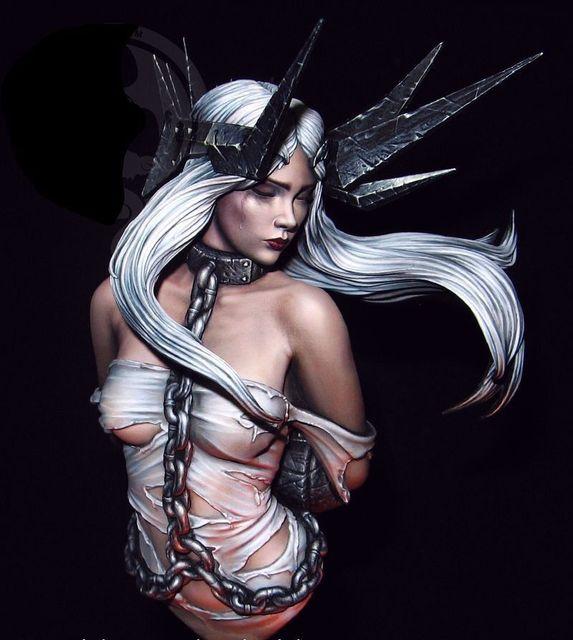 1/10 старинный воин женщина с длинными волосами бюст фотоаксессуары миниатюрный gk разборка Неокрашенный