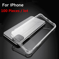 100pcs/lot For iPhone 11 Pro case Soft Silicone Transparent Case Clean Airbag case for iPhone 6 7 8 Plus X XS Max XR case Cover