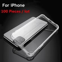 100pcs/lot For iPhone 11 Pro case Soft Silicone Transparent Case Clean Airbag for 6 7 8 Plus X XS Max XR Cover