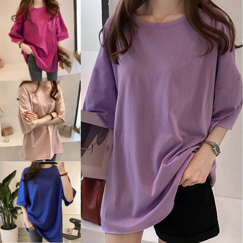2019 Casual Harajuku Women T-shirt Candy Color Half Sleeve Fashion Top Oversize Basic Tee Cotton Loose Plus Size  Ladies Tops