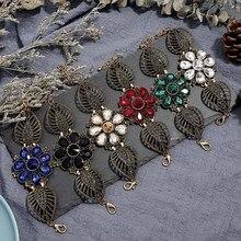 Crazy Feng Vintage Hollow Flower Bracelets for Women Girls Charm Austria Crystal CZ Cuff Wrap Bracelet Brangles Boho Jewelry