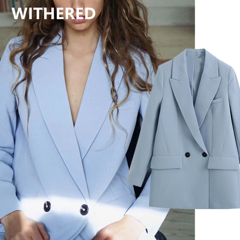 Withered Ins Fashion Blogger Double Breasted Oversize Vintage Blue Blazer Women Blazer Mujer 2020 Women Blazers And Jackets Tops