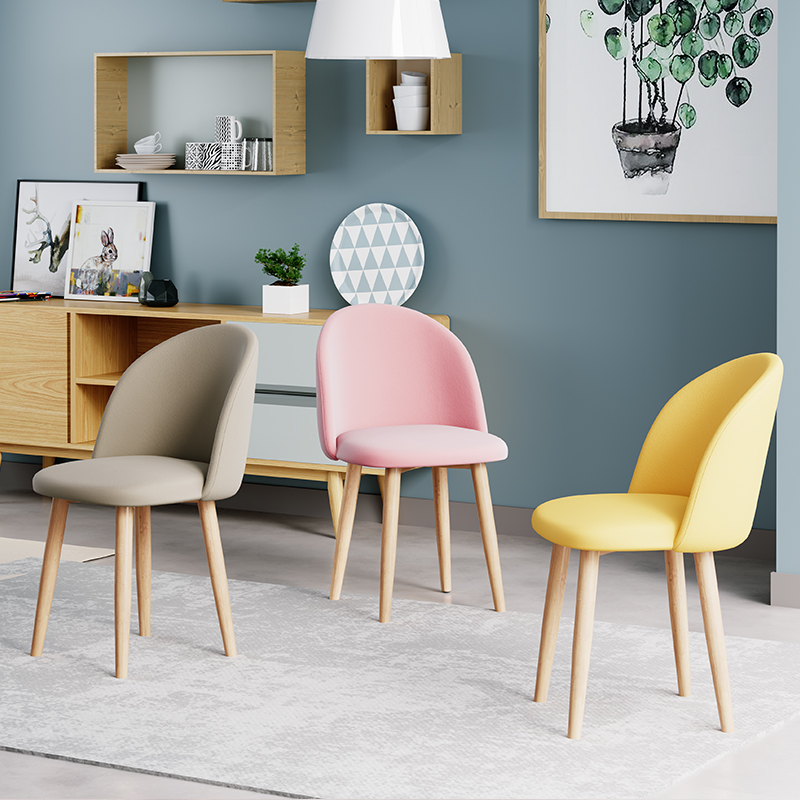Nordic INS Solid Wood Dining Room Dining Chair Restaurant Office Meeting Dressing Chair Home Bedroom Learning Solid Wood Chair