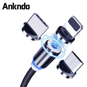 ANKNDO kabel USB ładowanie magnetyczne kabel do ładowarki rodzaj USB C kabel do ładowania komórki Micro USB kabel magnetyczny przewód telefoniczny tanie i dobre opinie NYLON USB A 2 4A TYPE-C 3 w 1 Ze wskaźnikiem LED