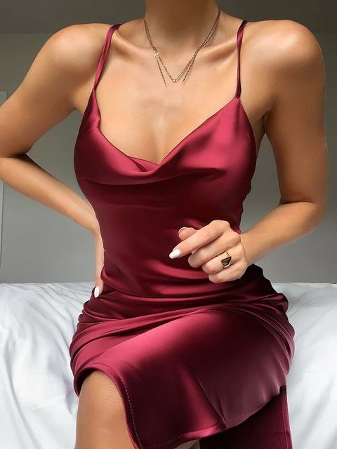 Sleeveless Spaghetti Strap Silk Long Dress Sexy Backless Low-cut Elegant Fake Satin Party Dress for Woman Sexy Club Midi Dresses 6