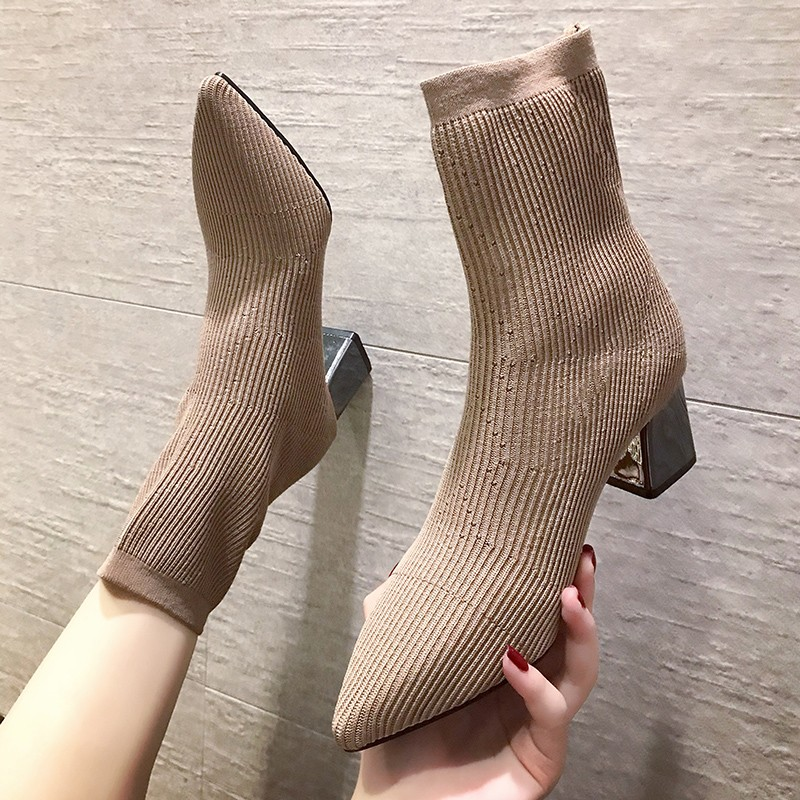 Black Khaki Knitted Elastic Socks Boots Thick High Heel Ankle Boots Women 2019 Pointed Toe Elegant Short Booties For Ladies