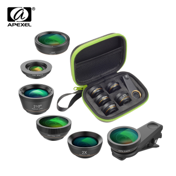 APEXEL 6 in 1 Phone Camera Lens Kit Wide Angle macro Lens Fish Eye Lens  CPL/Star Filter 2X tele for iPhone huaweall smartphones