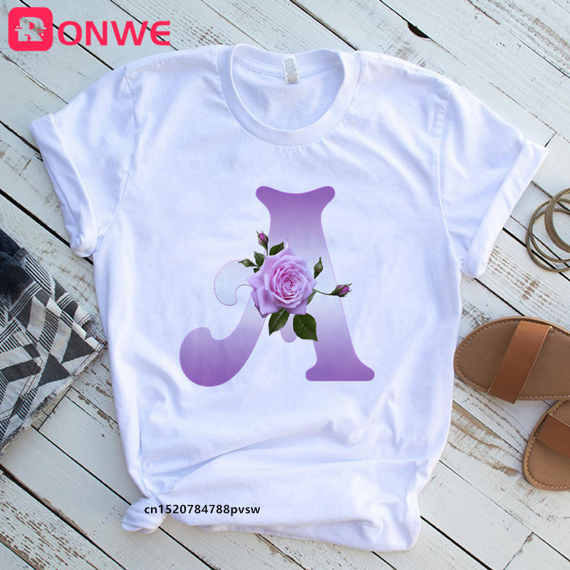 Women's Custom Name Rose Letter Combination Printing T-shirt Flower Letter Font A B C D E F G Short sleeve Tshirt,Drop Ship