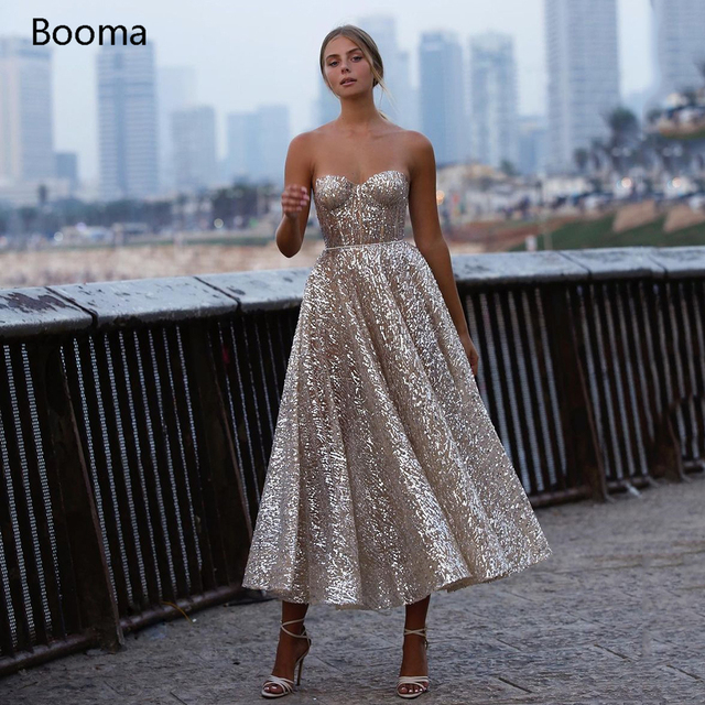 Booma Glitter Sequin Lace Prom Dresses Sweetheart A-Line Short Prom Gowns Open Back Sleeveless Tea-Length Formal Party Gowns 1