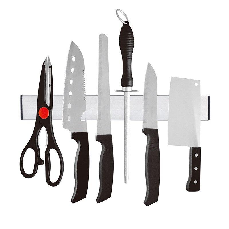 HHO-Magnetic Self-adhesive 31cm Length Knife Holder Stainless Steel 304 Block Magnet Knife Holder Rack Stand For Knives