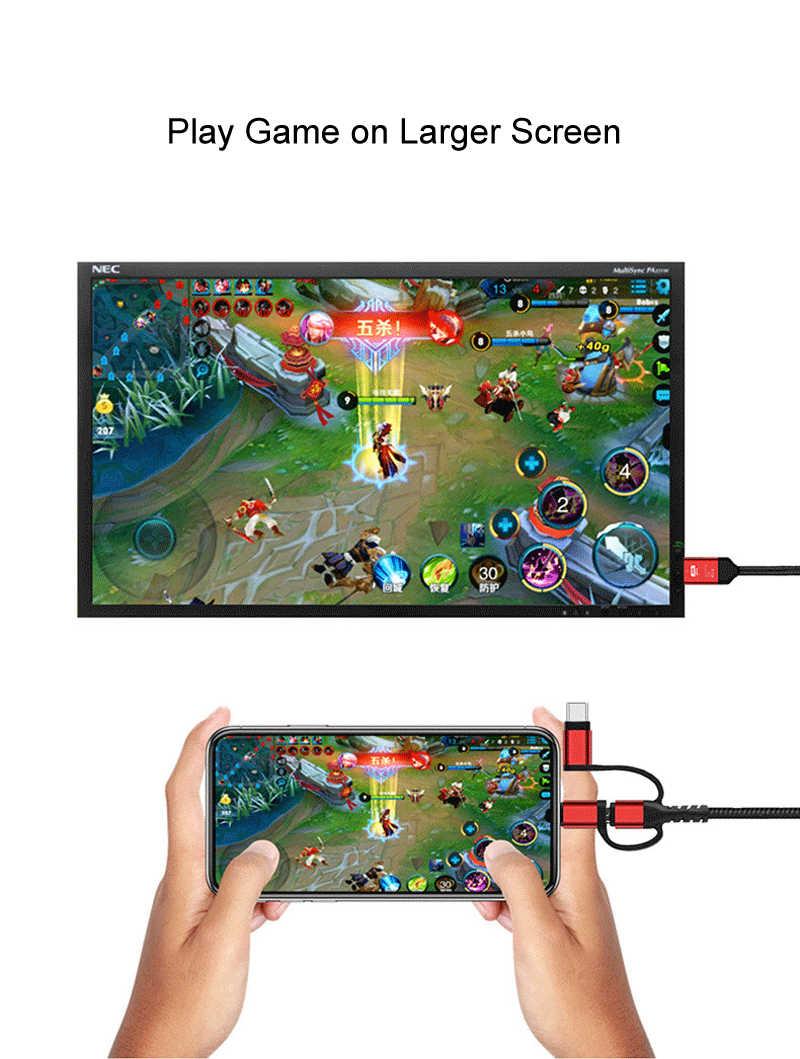 3 In 1 Usb Mikro Tipe C untuk HDMI Kabel Adaptor untuk iPhone 6 7 8 Ipad Samsung S8 s9 IOS Android Ponsel untuk TV HDTV