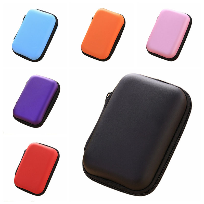 Mini Zipper Hard Headphone Case Portable Earbuds Pouch Box Square Earphone Storage Bag Protective USB Cable Organizer